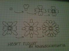 heart flower tangle  By texasdoxiemama
