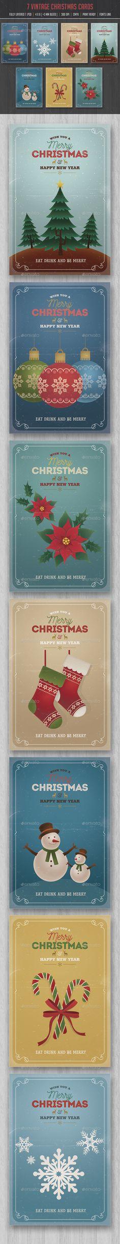 Retro Vintage Christmas Cards/Invitation Pack