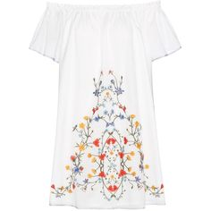 Tory Burch Montorosso Off-the-Shoulder Cotton Mini Dress ($410) ❤ liked on Polyvore featuring dresses, white, colorful dresses, short dresses, cotton dress, tory burch and white cotton dress