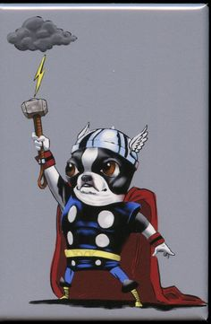 Boston terrier dog art thor hero magnet by rubenacker on Etsy, $4.25