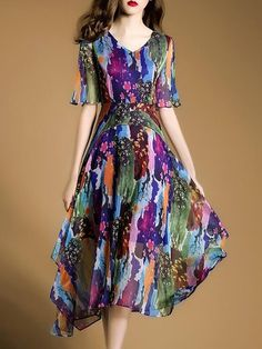 d71d8658a6 V neck Multicolor Holiday Short Sleeve Printed Floral Midi Dress. Dress  BeachBeach DressesProm ...