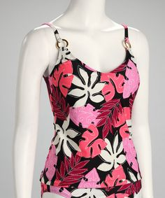 Take a look at this Black & Pink Tankini Top by Kechika on #zulily today! ... I *love* this print!
