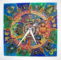 """Купить Часы """"Мексиканские мотивы"""" - часы настенные, часы настенные из стекла, мексика, орнамент"""