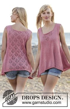 Woodstock - Knitted DROPS top with lace pattern and A-shape, worked top down in…