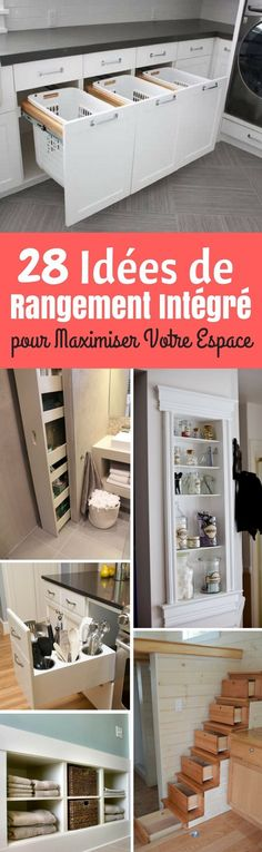 Fabulous Built-in Storage Ideen, um Ihren Lebensraum zu maximieren - Decor 2019 Bathroom Built Ins, Stair Drawers, Closet Under Stairs, Laundry Nook, Sliding Shelves, Hidden Kitchen, Bookshelves Built In, Decorative Storage, Built In Storage