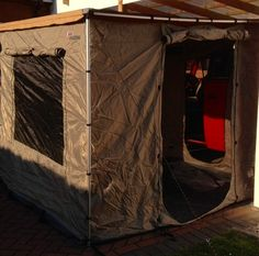 Designed to function as a fully enclosed room, the awning room with floor provides additional weather protection and privacy. Features a durable floor, two large mesh windows with roll up blinds, zippered door with both solid and mesh panels and is fully enclosed with an integrated roof that hangs just below the main awning canvas.