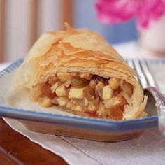 Apple Strudel plays equally as well as a breakfast pastry or German themed dessert. For faster service, build the strudel the night before and pop it straight from fridge to oven. From Cooking Light and @MyRecipes.com, found on www.edamam.com.