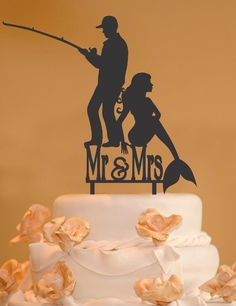 This fisherman and mermaid with Mr. and Mrs. wedding cake topper is made from food safe acrylic and we have many colors to choose from. This