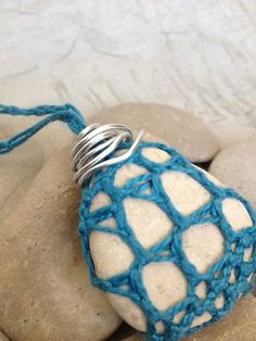 One of a kind Crocheted Stone Necklace by GabrielleAnnLee on Etsy, $35.00