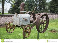 Rural Mailbox Tractor Railroad Tracks Stock Photo - Image of design, rusted: 63117376 Farmhouse Mailboxes, Rustic Mailboxes, Unique Mailboxes, Vintage Mailbox, New Mailbox, Rural Mailbox Ideas, Funny Mailboxes, Country Mailbox, Tractor Decor