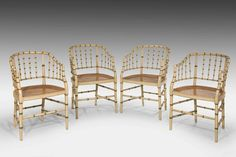Set of Four Late 19th Century Faux Bamboo Elbow Chairs (Ref No. 6352) - Windsor House Antiques