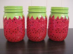 Set of 3 Mason Jar Centerpieces,Strawberry,Painted Mason Jars, Birthday Party Decorations,Strawberry Mason Jar Projects, Mason Jar Crafts, Mason Jar Diy, Bottle Crafts, Diy Projects, Strawberry Decorations, Summer Party Decorations, Outdoor Decorations, Strawberry Shortcake Centerpieces