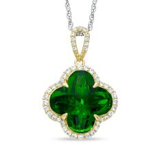 14.0m Clover-Shaped Simulated Peridot and Lab-Created White Sapphire Pendant in Sterling Silver with 14K Gold Plate
