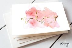 Pink Watercolour Business Card by iloladesign on @creativemarket