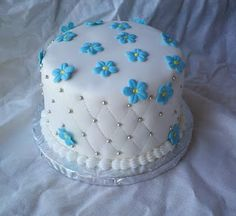 Forget Me Not flower birthday cake. Triple Chocolate fudge cake with cookies and cream filling.