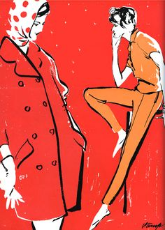 Red vintage Vogue woman's wear fashion illustration.