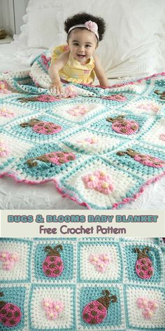 Bugs and Blooms Baby Blanket [Free Crochet Pattern] Ladybugs appliques