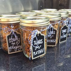Mason jars filled with furikake mix. Used for baby shower game prizes. It was a big hit!