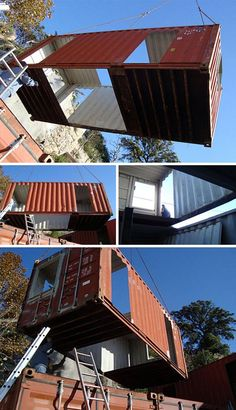 shipping container house building being constructed #shipping_containers #building_re-use
