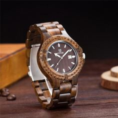 9e6fccd3728 SIHAIXIN Newest Design vintage wooden Bangle wrist watches men sandalwood  strap Quartz Movement Date male luxury clock gift box