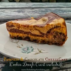 The Baking ChocolaTess | Pumpkin and Chocolate Swirl Cheesecake   Chocolate Chip Cookie Crust | http://www.thebakingchocolatess.com