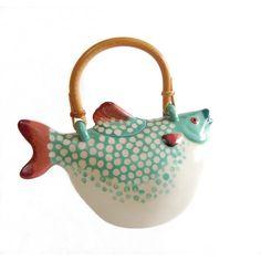 Animals Co. Puffer Fish Tea Pot RARE Vintage Fine Art Original Polka... (195 CAD) ❤ liked on Polyvore featuring home, home decor, animal figure, ceramic animal figurines, ceramic figurines, polka dot home decor and animal figurines