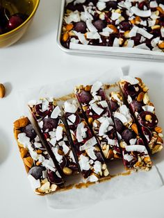 Almost raw cherry + almond butter caramel bars with almond coconut crust & sea salt