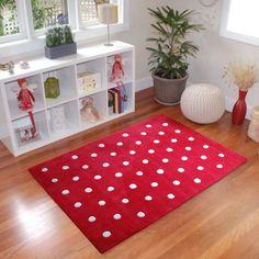 Cherry red kids rug stunning in a playroom, bedroom or nursery.