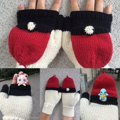 Pokéball flap mittens