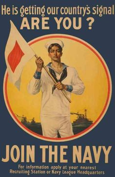 JOIN THE NAVY  …  Vintage Recruiting Poster, Early 20th Century