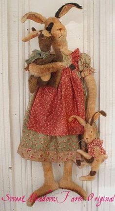 Primitive Pattern Big Mama Bunny Doll with Little Rabbit Dolls | eBay