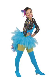 ELEBRATION! (TURQUOISE) Dazzle in color! Lycra shortie unitard with separate multi-color sequin mesh bolero jacket. Separate tricot feathered tutu skirt  with tail. Amazing multi-color boa trim.(1235×1853)