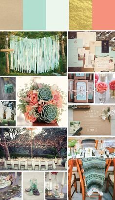 my first inspiration board for my wedding this summer. Thinking mint, gold, and a touch of pink.