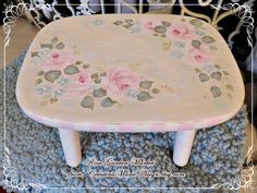 Vintage Wooden Stool Hand Painted with by CelestinaMarieDesign
