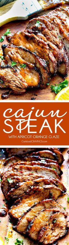 Grilled Cajun Steak with Sweet Orange Apricot Glaze – this Cajun marinade and…