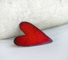 Red Enameled copper Heart pendant by mariastudio on Etsy, €32.00