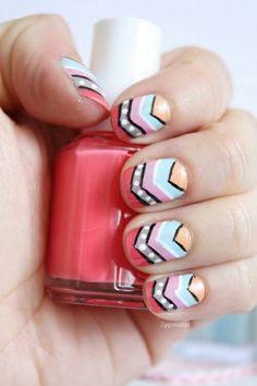 Chevron and tribal nails nail art nail polish Fancy Nails, Love Nails, How To Do Nails, Pretty Nails, My Nails, Tribal Nails, Chevron Nails, Nail Stripes, Striped Nails