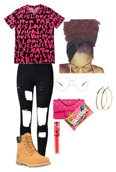 """""""Untitled #85"""" by xxkemaraxx on Polyvore featuring WithChic, Louis Vuitton, Timberland, Chanel, Gucci, Lime Crime, Pieces and Beauxoxo"""