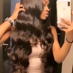 Long body wave hair is literally a VIBE! wave closurYou can find Hair weaves and more on our website.Long body wave hair is literally a VIBE! Baddie Hairstyles, Summer Hairstyles, Weave Hairstyles, Braided Hairstyle, Prom Hairstyles, Loose Waves Hair, Wave Hair, Curly Hair Styles, Natural Hair Styles