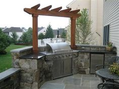 Barbecue design backyard ideas outdoor designs patio with covered best area restaurant . Backyard Kitchen, Outdoor Kitchen Design, Backyard Patio, Backyard Landscaping, Outdoor Kitchens, Outdoor Spaces, New Patio Ideas, Outdoor Patio Designs, Outdoor Decor