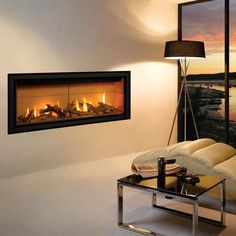 Fireplace Wall, Fireplace Surrounds, Fireplace Design, Fireplace Modern, Traditional Fireplace, Traditional House, Glass Fronted Gas Fire, Fire Glass, Contemporary Gas Fires