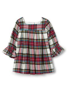 Gap Baby Plaid Flannel Ruffle Dress Ivory Frost