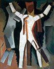 1915 peinture - danseurs bleus bras écartés