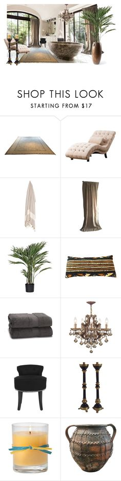 """Bath or Shower?"" by themathematician ❤ liked on Polyvore featuring interior, interiors, interior design, home, home decor, interior decorating, Abbyson Living, Restoration Hardware, Safavieh and Aromatique"
