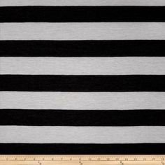 Jersey Knit Stripe White/Grey from @fabricdotcom  This semi-sheer stretch rayon blend jersey knit fabric has an ultra soft hand, a fluid drape and 50% stretch across the grain. This fabric is perfect for creating stylish tops, tanks, lounge wear, gathered skirts and flowing dresses with a lining.