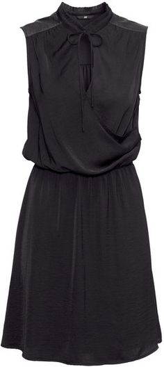 H Black Knee Length Satin Dress