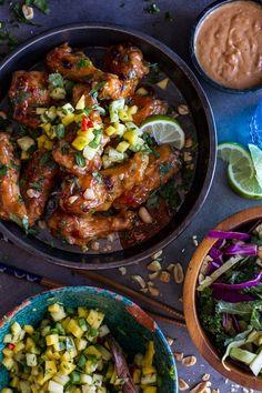 Thai Peanut Chicken Wings with Fiery Pineapple-Jalapeño Salsa