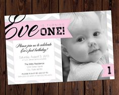 Baby/Infant/Toddler Birthday Invitation - Designed with a spot for your kiddo, using pink banners and grey chevrons. Ask about color and font customization on Etsy.