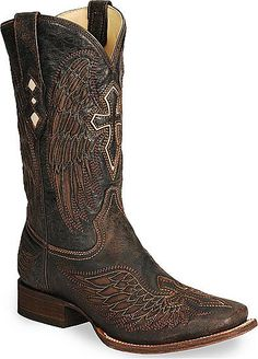 A1978 Mens Corral Brown Wing & Cross Sqaure Toe Boot
