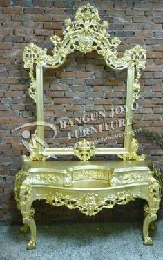 """Nightingale"" Baroque Louis XV Rococo French Reproduction Victorian Vanity and Mirror This matches the ""Nightingale"" Bed along with the Chest Custom made, hand carved from mahogany. Please allow appro Rococo Furniture, Painting Wooden Furniture, Furniture Near Me, Dream Furniture, Rustic Furniture, Modern Furniture, Classic Furniture, Outdoor Furniture, Luxury Furniture Stores"
